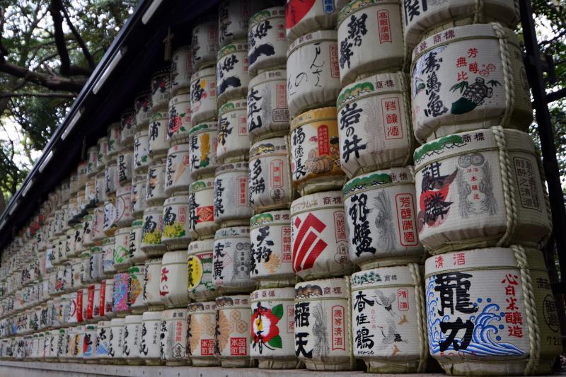 Sake-Fässer im Yoyogi-Park