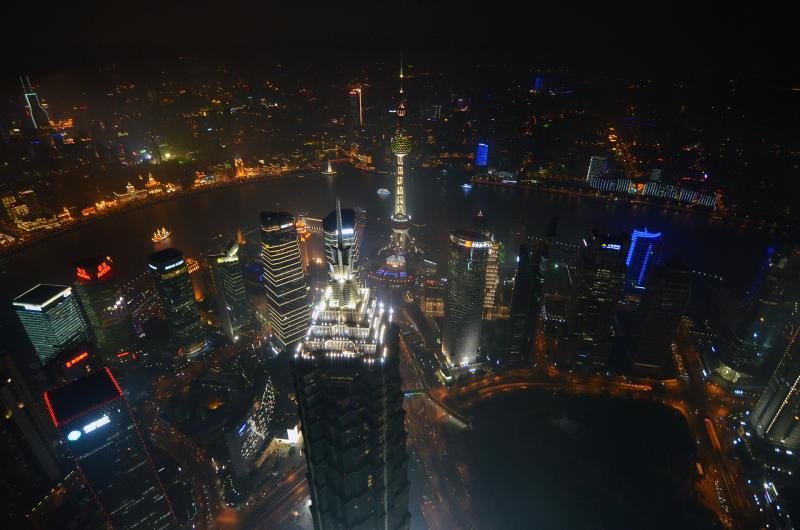Shanghai bei Nacht aus dem Financial Center