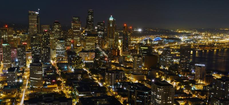 Downtown Seattle bei Nacht