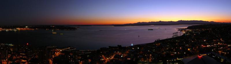 Sonnenuntergang über Seattle Panorama