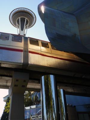 Der Monorail, der zum Seattle Center führt